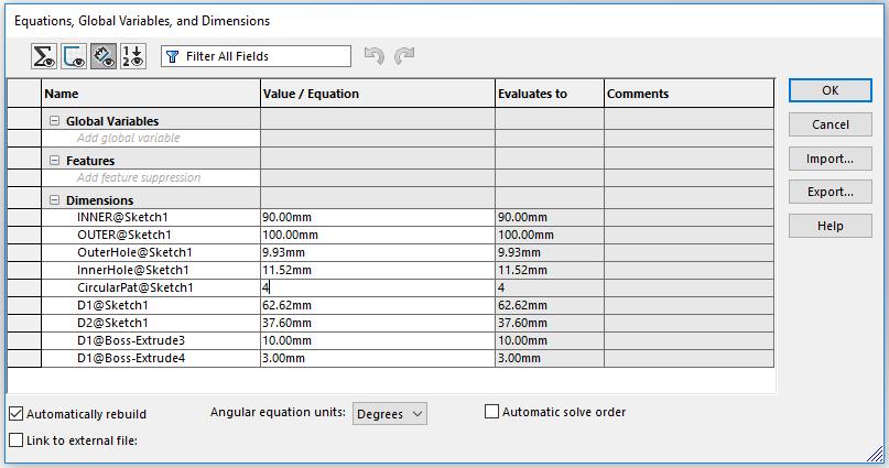 Hướng dẫn thực hành Lệnh Equation trong Solidworks