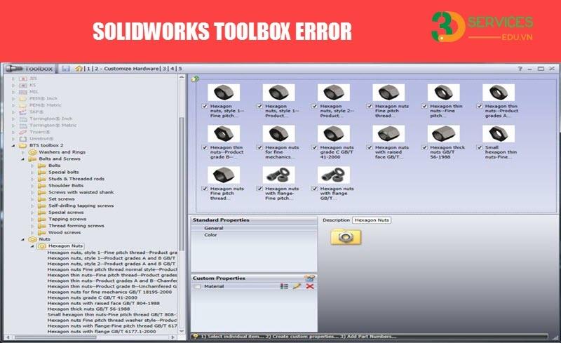 Hướng dẫn khắc phục lỗi Solidworks Toolbox